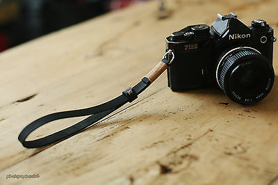 Windmup Khaki top 11mm dark Handmade Leather camera wrist strap