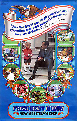 Official 1972 Richard Nixon Reelection Campaign Poster ~ Domestic Policy (2671)