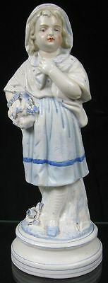 Antique 19th C German Porcelain Figurine Young Lady in Blue & White