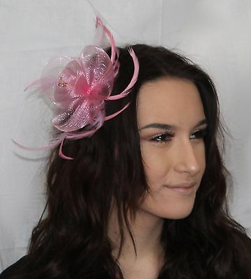 Light Pink Net Flower Feather Fascinator on clip & pin, diamante crystal details