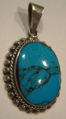 ESTATE BOLD ARTISAN STERLING SILVER PENDANT BLUE TURQUOISE STONE 15.7 GR 2""