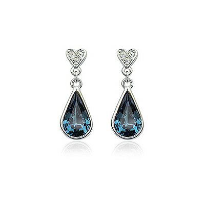 Gorgeous 18K White Gold Plated Genuine Blue Cz & Austrian Crystal Drop Earrings