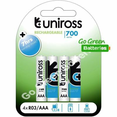 4 x Uniross AAA 700 mAh Rechargeable Batteries NiMH ACCU LR03 HR03 DC2400 Phone