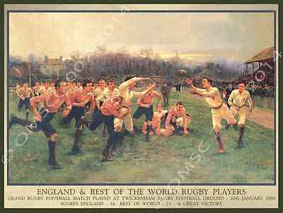 Rugby Metal Sign, England and the Rest, 1889, Vintage Sports Poster, Mancave
