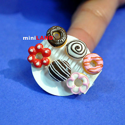 6 mixed Donuts cakes for 1:12 Scale dollhouse miniature handmade food  DN01
