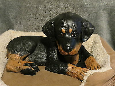 Rottweiler Puppy Basket / Bed Buddy Decorative Life Like Puppy Statue