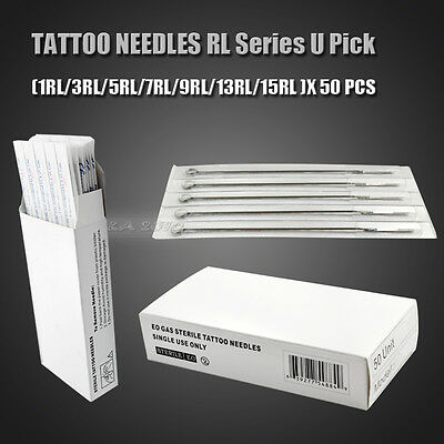 50pc Tattoo Sterile RL Round Liner Needles Supplies Tips 8 Size Stainless Steel