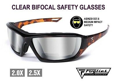 Fuglies Bifocal Clear Safety Glasses - ASNZS1337 Foam Backed