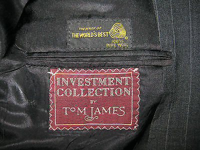 Mens Investment Collection Tom James Dark Charcoal Pin Stripe 100% Wool Blazer