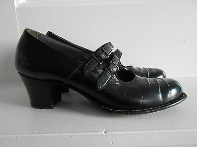 Vintage 1930's  Walk Over Black Double Calf Strap Leather Heels Sz 8 1/2 A