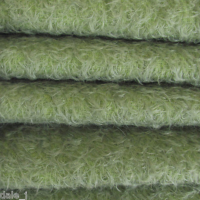 """1/6 yd 300S/CM Antq. Sage INTERCAL 1/2"""" Ultra-Sparse Curly Matted Mohair Fabric"""
