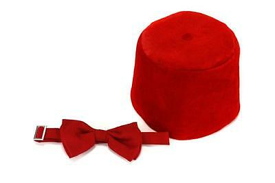 Dr Who Fez Hat and Bow Tie Set Matt Smith 11th Doctor Who BBC Licensed NEW