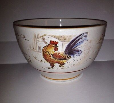 "Sur La Table POETIC ROOSTER Large Soup Cereal Bowl 6.25"" ~ 4"" (small chip)"