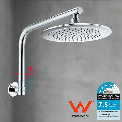 "WELS 8"" Round Rainfall Shower Head Rose with Swivel Gooseneck Wall Arm Set"