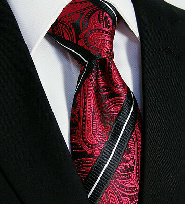 Luxury Mens Tie - Floral Wedding Italian Silk - Red White Black Paisley Gift