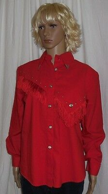 LILIA SMITTY Red Western Square Dance Rodeo Shirt Silver Tabs Fringe Studs sz M
