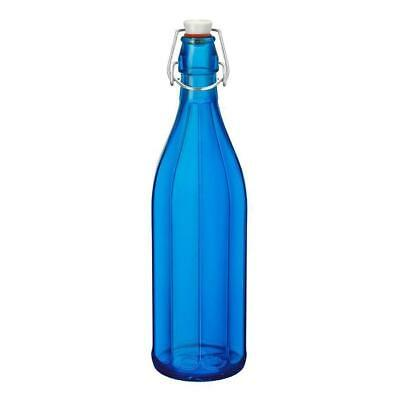 6x Glass Water Bottle 1 Litre Dark Blue, Decagon Shape