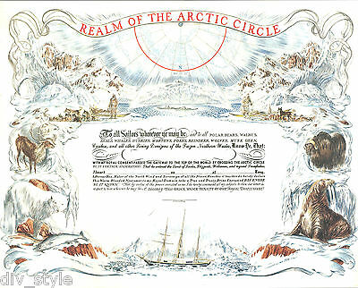 Realm of the Arctic Circle Certificate new US Naval Institute--Last of inventory