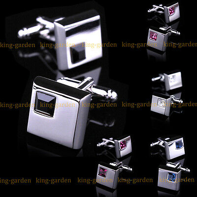 Luxury Clear Blue Crystal Square Silver Business Wedding Men's Cufflinks Gift