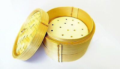 "7"" Bamboo Steamer Round Dim Sum Steamer 2 Tier 1 Lid + FREE 25 Dim Sum Papers"
