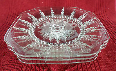 """Federal Glass ** COLUMBIA ** 9"""" Luncheon Plate x3 * ...nice! * Depression Glass"""