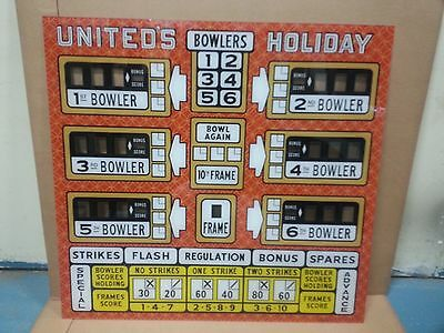 1962 United HOLIDAY Big Ball Bowler Bowling Alley Upper Back Glass NEW/Arcade