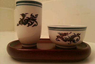 Vintage japanese dragon and fish sake cup small bowl set delicate