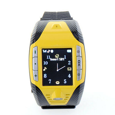 F3 Cell Phone GSM Mobile Touch Screen Wrist Watch Camera Yellow               D4