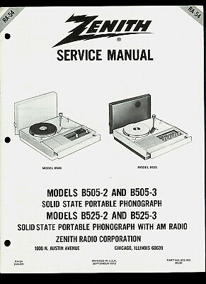 Zenith B505 2 3 B525 Portable Phono Turntable Original Factory Service Manual