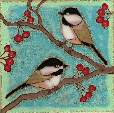 Ceramic tile, Chickadees, birds,wall decor, hot plate,installation,hand crafted