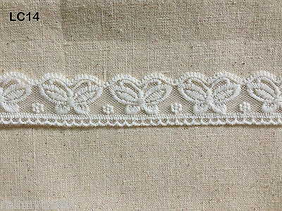 LC14 vintage white butterfly flower scallop sewing cotton lace trim 3.5cm x1yard