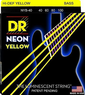 DR NYB-40 NEON HiDef YELLOW COATED BASS STRINGS, LIGHT GAUGE 4's - 40-100