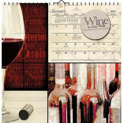 """856074 - NEW 2015 WINE BY LISA WOLK MONTHLY WALL CALENDAR 12"""" X 12"""""""