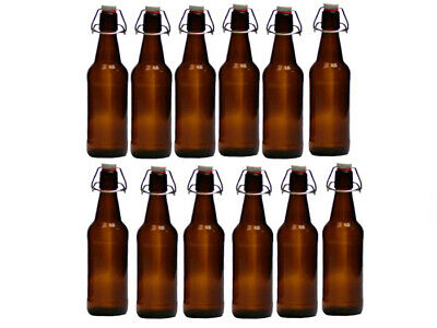 750ml Home Brew 12 PCs Amber Flip Top Bottle Flip Top 55361