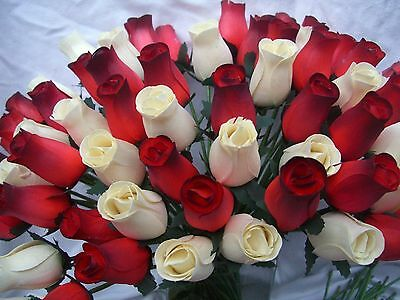 Valentines Wholesale Stock Clearance Cream & Romantic Red Wooden Roses Gift