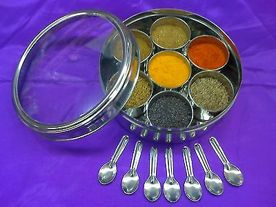 7 Spices in 165mm Steel Clear Lid Indian Masala Dabba/Spice Tin/Box & 7 Spoons