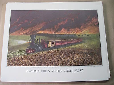 Prairie Fires Of The Great West-Train by Currier and Ives