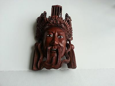 A BEUATIFULL CHINESE ROSEWOOD HAND CARVED MASK OF IMPEROR WITH THE DRAGONS  #2