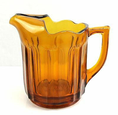 Vintage Heavy Glass Amber Pitcher Ice Lip Spout Ribbed Panel