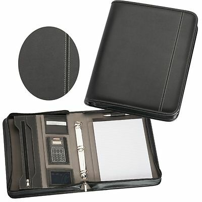 Compendium Black A4 Leather Styled with calculator, Metal pen / pencil set incl