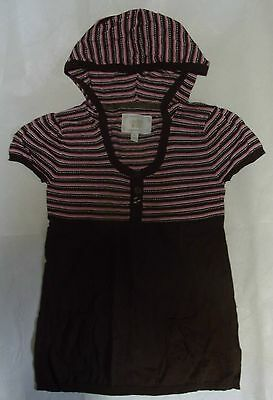 New Limited Too Girls Sweater W/ Hood Pink Brown White & Silver Size 16