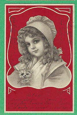 1902 PC Beautiful GIRL in a BONNET, holding a BUNCH of DAISIES  u/s BRUNDAGE