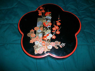 Asian Oriental Flower Shaped Lazy Susan with 5 Crescent Shaped Bowls