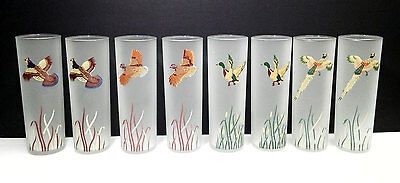 8 VINTAGE LIBBEY FROSTED TOM COLLINS Pheasant DUCK Turkey GLASSES EXCELLENT