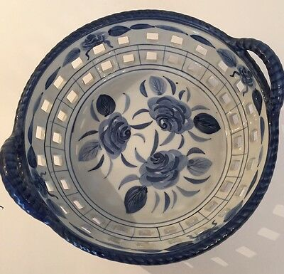Ceramic/porcelain Blue & White Floral Pattern Bread Basket