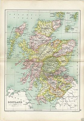 Antique Cassell's Atlas Map of Scotland 1910 Bartholomew