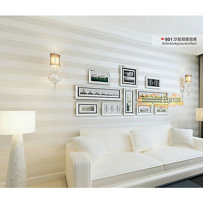High Quality Non-woven Stripe Line TV Background Wall Paper Roll Beige White 10m