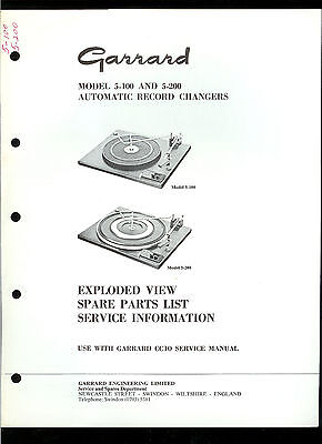 Factory Garrard 5 100 200 Turntable Record Player Illustrated Parts List Manual