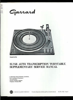 Factory Garrard SL75B Turntable Record Player Illustrated Parts List Manual