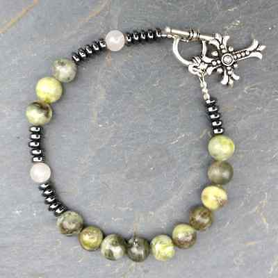 Connemara marble,rose quartz,hematite rosary bracelet Irish. Made in Ireland